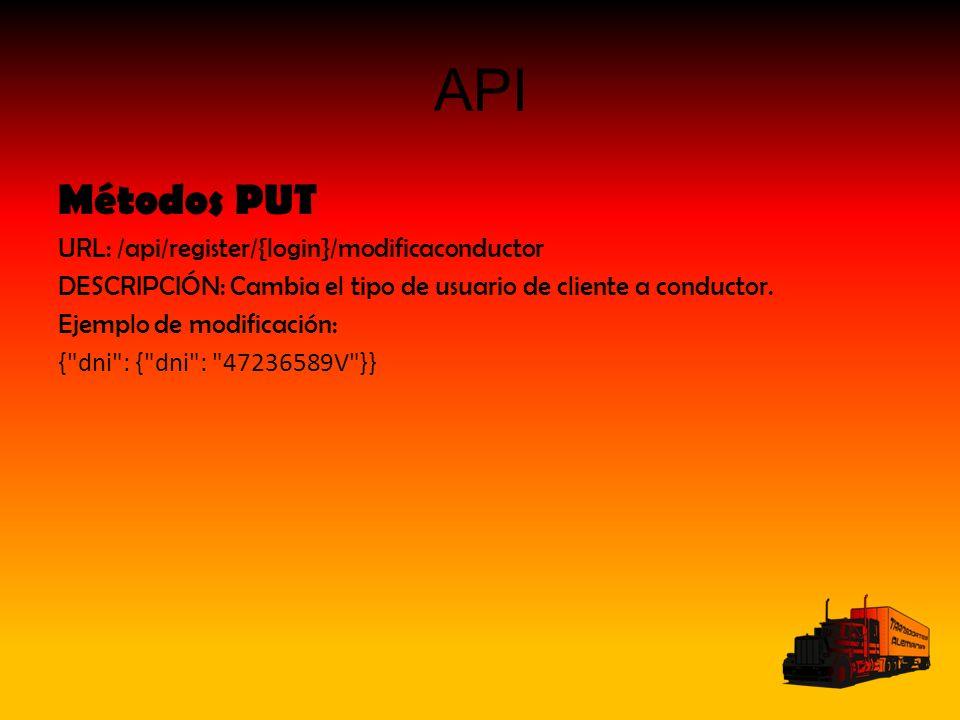 API Métodos PUT URL: /api/register/{login}/modificaconductor DESCRIPCIÓN: Cambia el tipo de usuario de cliente a conductor. Ejemplo de modificación: {