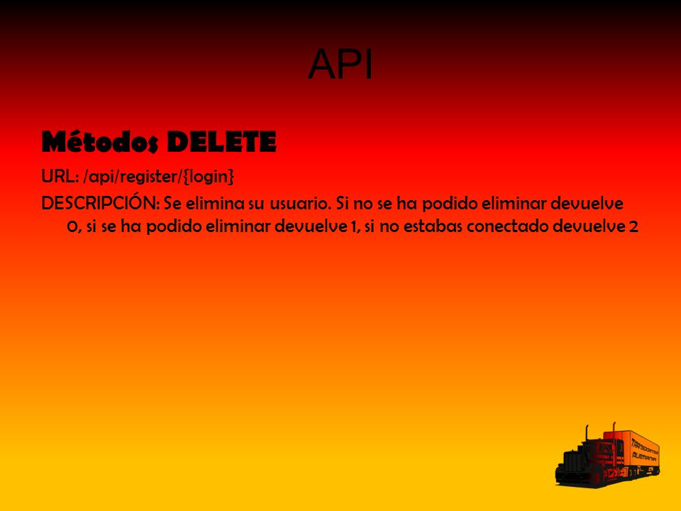 API Métodos DELETE URL: /api/register/{login} DESCRIPCIÓN: Se elimina su usuario. Si no se ha podido eliminar devuelve 0, si se ha podido eliminar dev