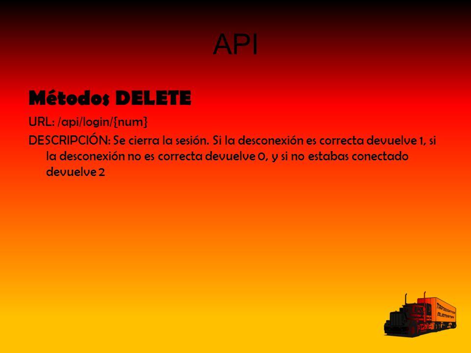 API Métodos DELETE URL: /api/login/{num} DESCRIPCIÓN: Se cierra la sesión.