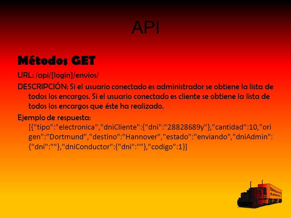 API Métodos GET URL: /api/{login}/envios/ DESCRIPCIÓN: Si el usuario conectado es administrador se obtiene la lista de todos los encargos.