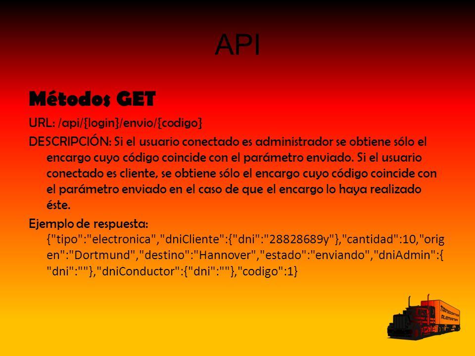 API Métodos GET URL: /api/{login}/envio/{codigo} DESCRIPCIÓN: Si el usuario conectado es administrador se obtiene sólo el encargo cuyo código coincide con el parámetro enviado.