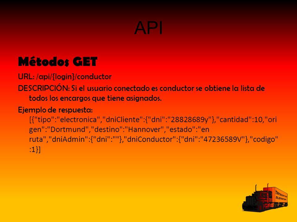 API Métodos GET URL: /api/{login}/conductor DESCRIPCIÓN: Si el usuario conectado es conductor se obtiene la lista de todos los encargos que tiene asignados.