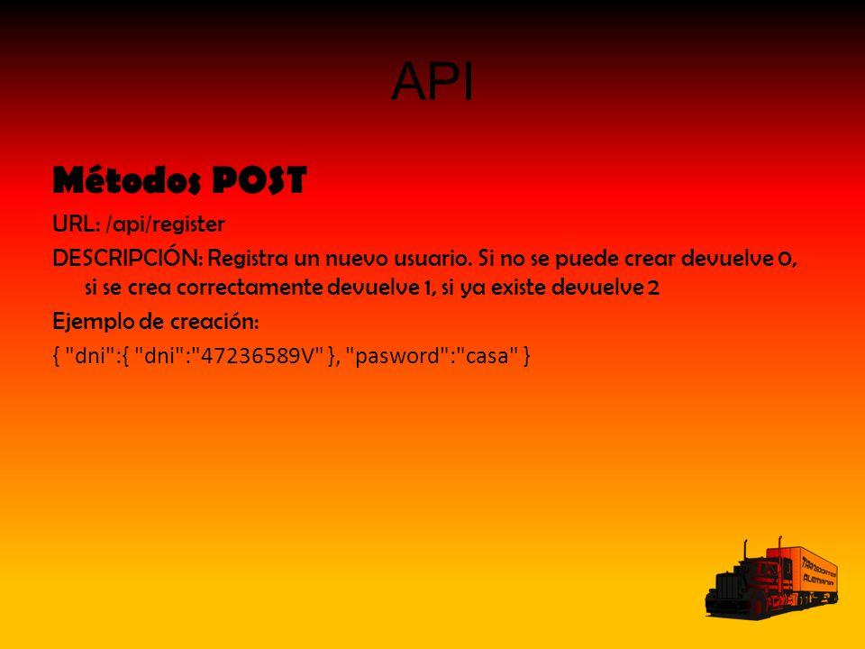 API Métodos POST URL: /api/register DESCRIPCIÓN: Registra un nuevo usuario. Si no se puede crear devuelve 0, si se crea correctamente devuelve 1, si y