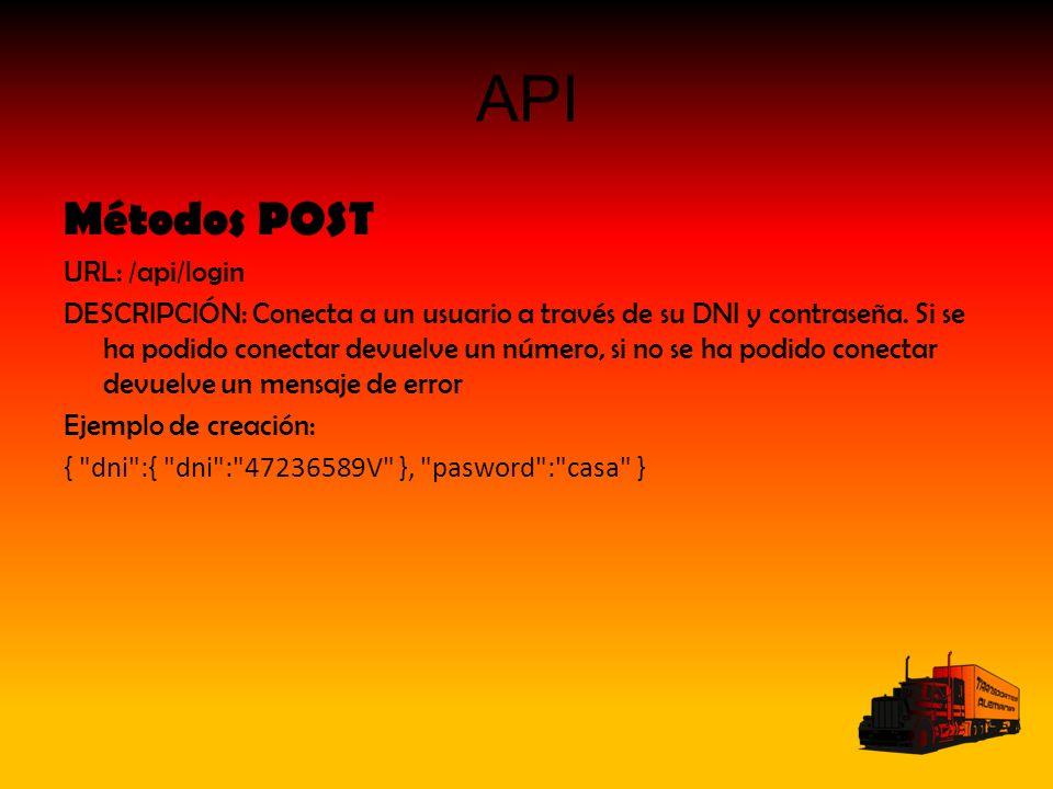 API Métodos POST URL: /api/login DESCRIPCIÓN: Conecta a un usuario a través de su DNI y contraseña. Si se ha podido conectar devuelve un número, si no