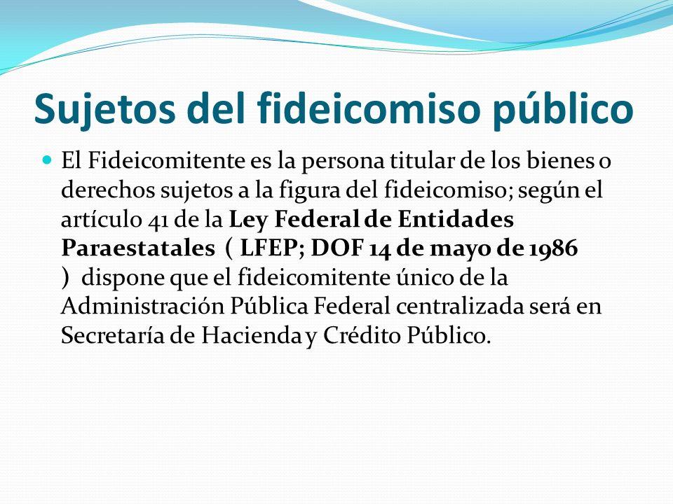 Sujetos del fideicomiso público El Fideicomitente es la persona titular de los bienes o derechos sujetos a la figura del fideicomiso; según el artícul