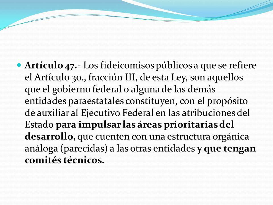 Artículo 47.- Los fideicomisos públicos a que se refiere el Artículo 3o., fracción III, de esta Ley, son aquellos que el gobierno federal o alguna de