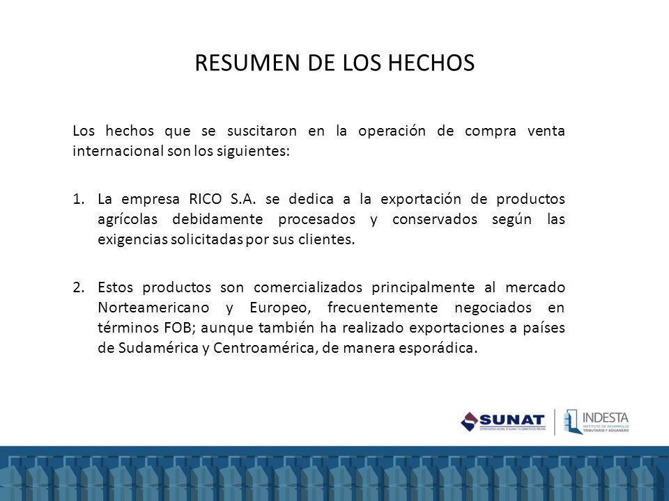 RESUMEN DE LOS HECHOS Los hechos que se suscitaron en la operación de compra venta internacional son los siguientes: 1.La empresa RICO S.A.