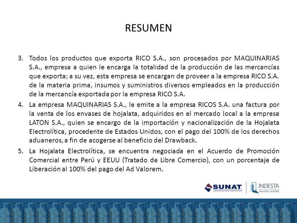RESUMEN 3.Todos los productos que exporta RICO S.A., son procesados por MAQUINARIAS S.A., empresa a quien le encarga la totalidad de la producción de las mercancías que exporta; a su vez, esta empresa se encargan de proveer a la empresa RICO S.A.