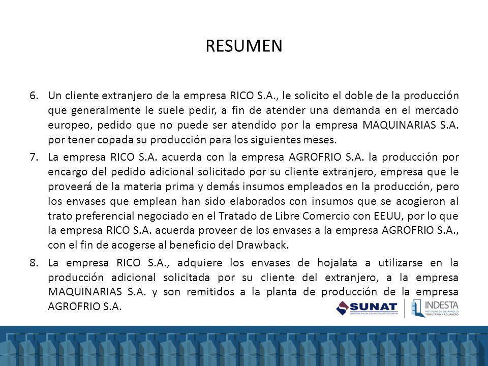RESUMEN 6.Un cliente extranjero de la empresa RICO S.A., le solicito el doble de la producción que generalmente le suele pedir, a fin de atender una demanda en el mercado europeo, pedido que no puede ser atendido por la empresa MAQUINARIAS S.A.