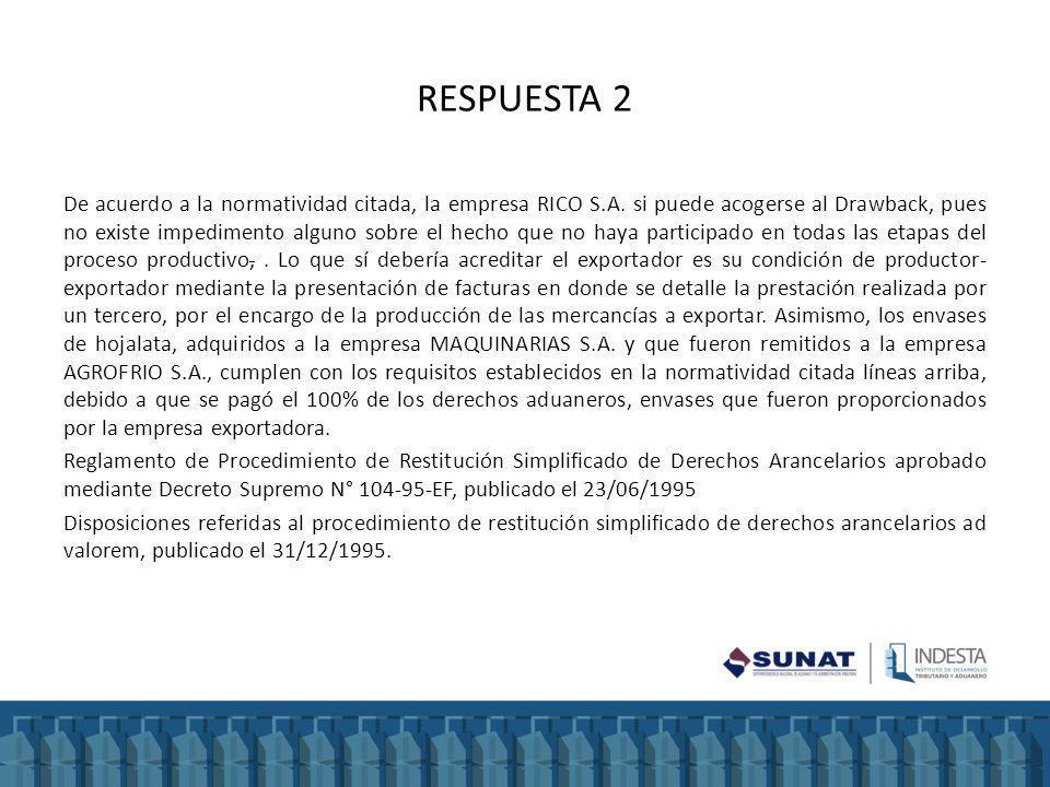 RESPUESTA 2 De acuerdo a la normatividad citada, la empresa RICO S.A. si puede acogerse al Drawback, pues no existe impedimento alguno sobre el hecho