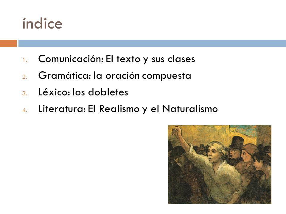 índice 1.Comunicación: El texto y sus clases 2. Gramática: la oración compuesta 3.