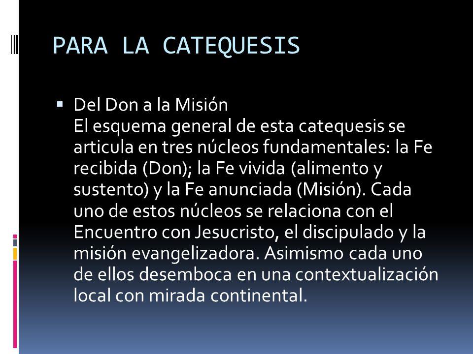 PARA LA CATEQUESIS Del Don a la Misión El esquema general de esta catequesis se articula en tres núcleos fundamentales: la Fe recibida (Don); la Fe vi