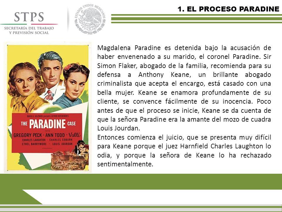 1. EL PROCESO PARADINE Magdalena Paradine es detenida bajo la acusación de haber envenenado a su marido, el coronel Paradine. Sir Simon Flaker, abogad
