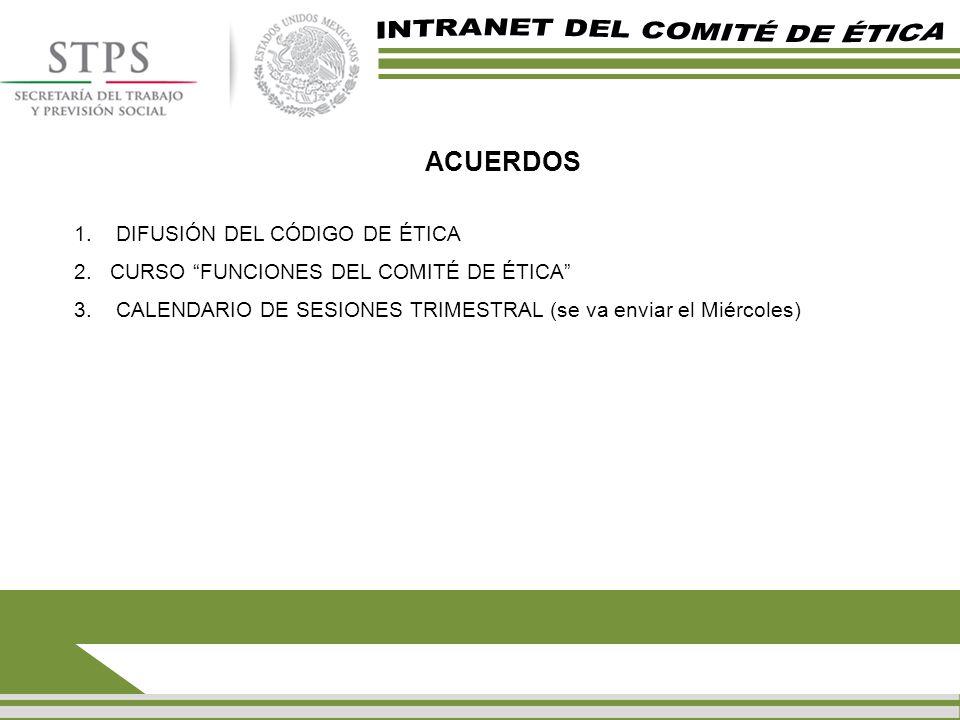 ACUERDOS 1. DIFUSIÓN DEL CÓDIGO DE ÉTICA 2.CURSO FUNCIONES DEL COMITÉ DE ÉTICA 3. CALENDARIO DE SESIONES TRIMESTRAL (se va enviar el Miércoles)