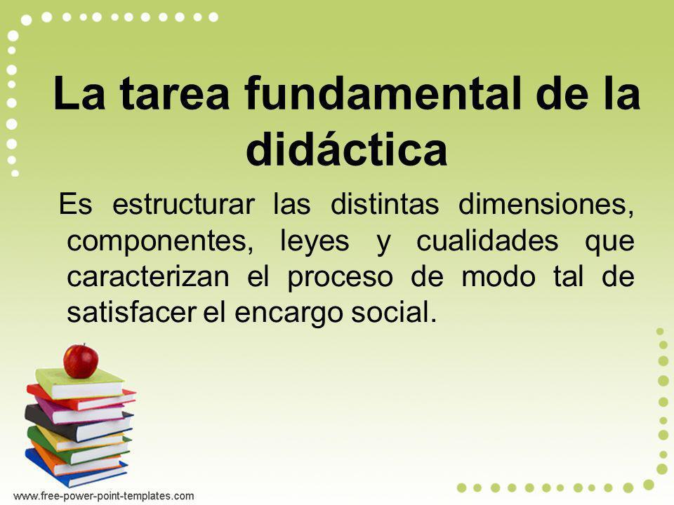 La tarea fundamental de la didáctica Es estructurar las distintas dimensiones, componentes, leyes y cualidades que caracterizan el proceso de modo tal