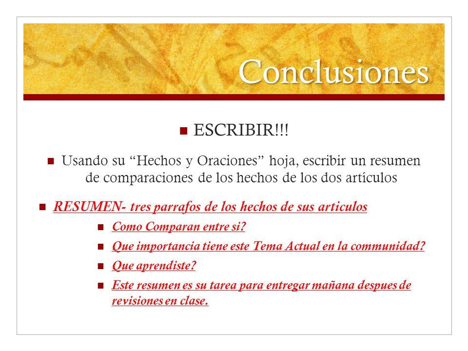 Conclusiones ESCRIBIR!!! Usando su Hechos y Oraciones hoja, escribir un resumen de comparaciones de los hechos de los dos artículos RESUMEN- tres parr