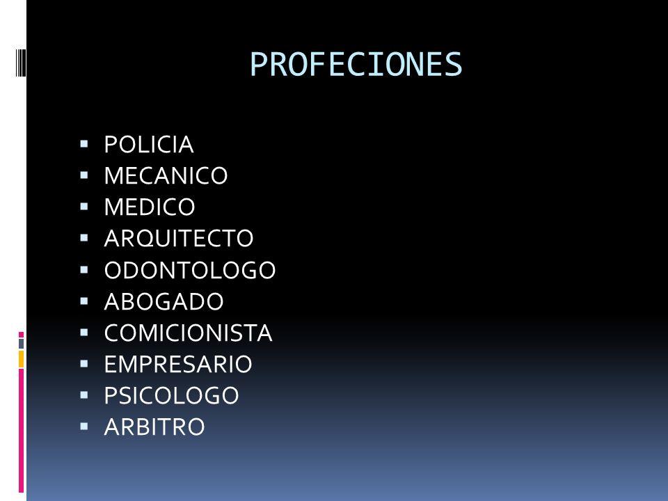 PROFECIONES POLICIA MECANICO MEDICO ARQUITECTO ODONTOLOGO ABOGADO COMICIONISTA EMPRESARIO PSICOLOGO ARBITRO