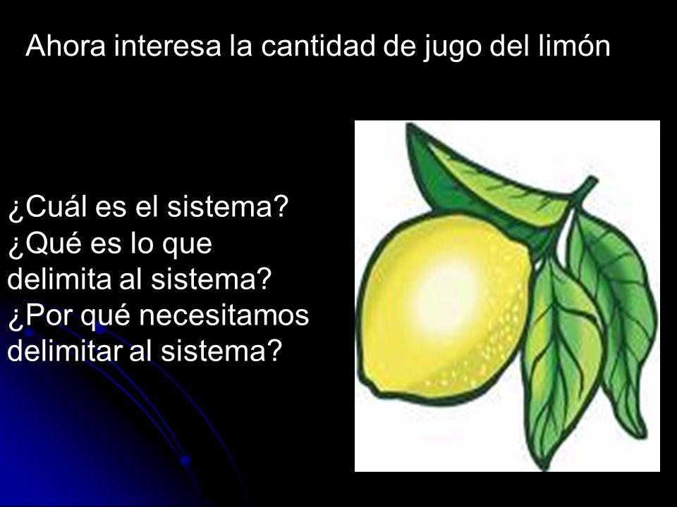 Ahora interesa la cantidad de jugo del limón ¿Cuál es el sistema? ¿Qué es lo que delimita al sistema? ¿Por qué necesitamos delimitar al sistema?