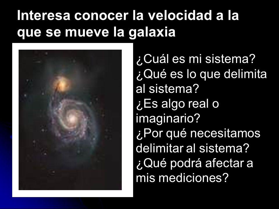 Interesa conocer la velocidad a la que se mueve la galaxia ¿Cuál es mi sistema? ¿Qué es lo que delimita al sistema? ¿Es algo real o imaginario? ¿Por q