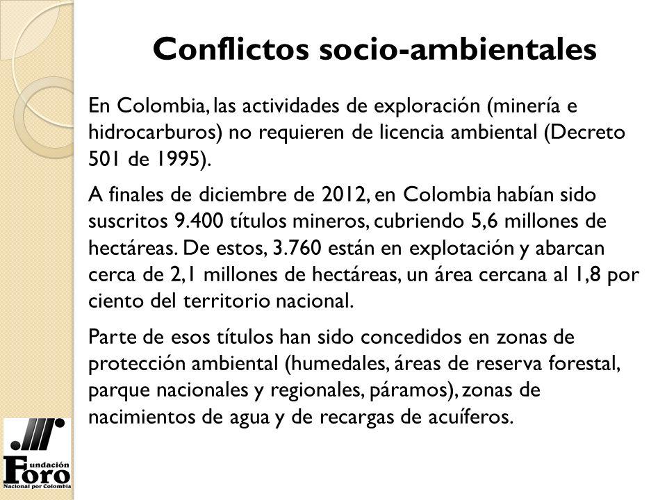Conflictos socio-ambientales En Colombia, las actividades de exploración (minería e hidrocarburos) no requieren de licencia ambiental (Decreto 501 de