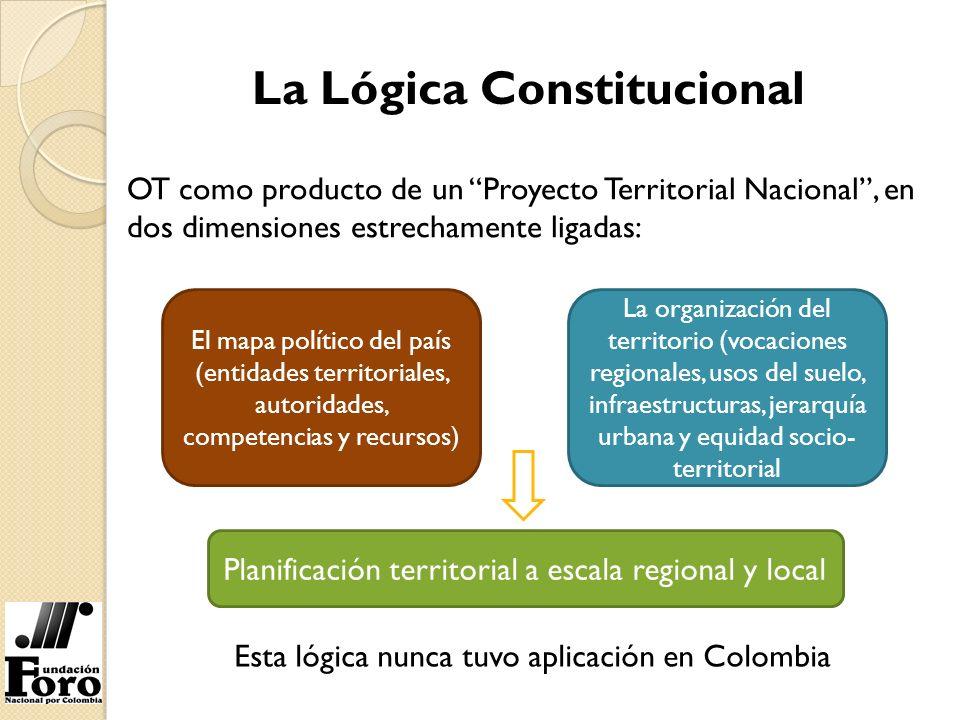 La Lógica Constitucional OT como producto de un Proyecto Territorial Nacional, en dos dimensiones estrechamente ligadas: El mapa político del país (en