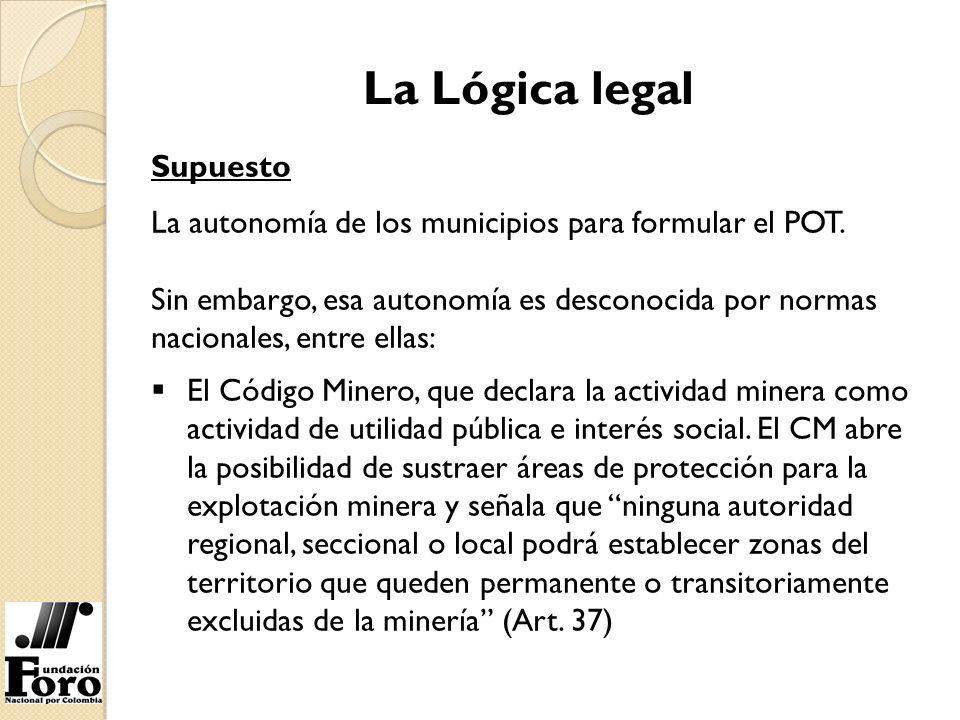 La Lógica legal Supuesto La autonomía de los municipios para formular el POT. Sin embargo, esa autonomía es desconocida por normas nacionales, entre e