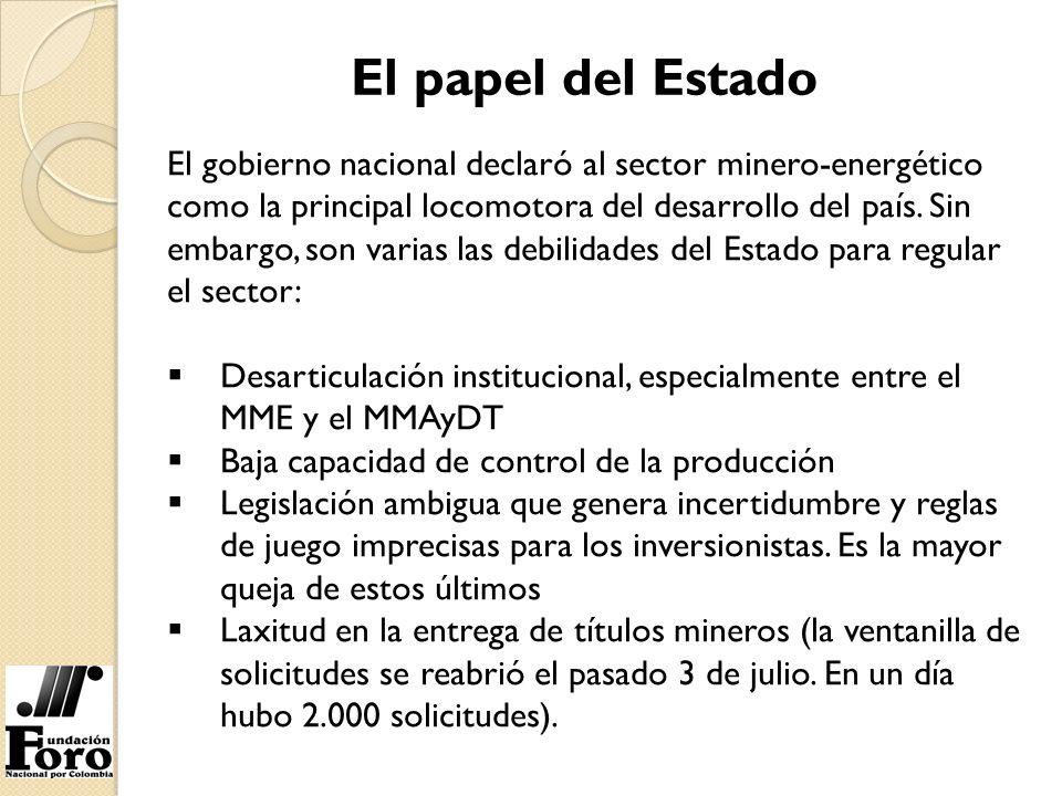 El papel del Estado El gobierno nacional declaró al sector minero-energético como la principal locomotora del desarrollo del país. Sin embargo, son va