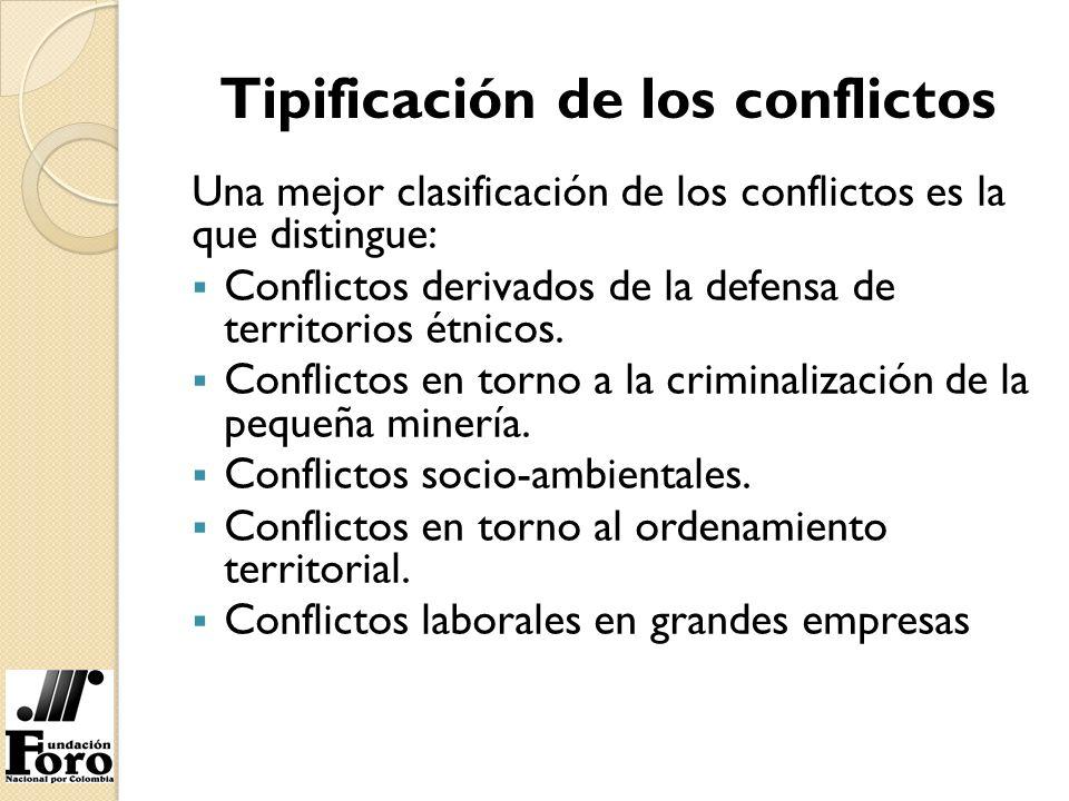 Tipificación de los conflictos Una mejor clasificación de los conflictos es la que distingue: Conflictos derivados de la defensa de territorios étnico