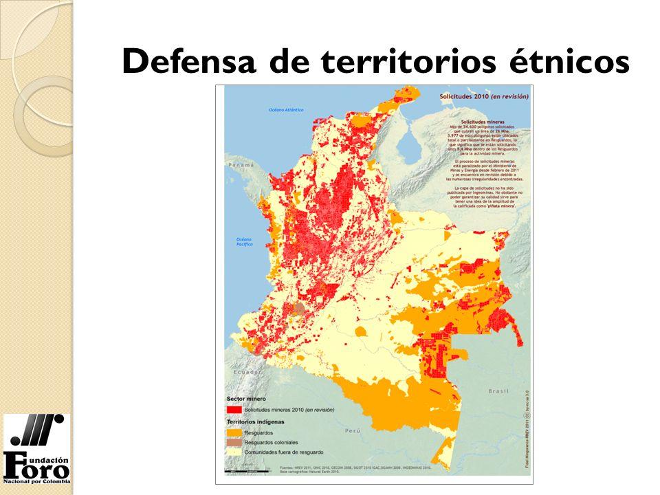 3.977 de los 54.600 polígonos involucrados en las solicitudes de título minero a 2010 afectan territorios de comunidades indígenas y afro.