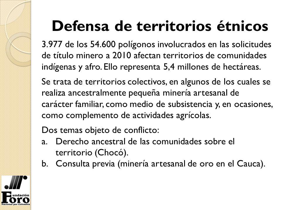 3.977 de los 54.600 polígonos involucrados en las solicitudes de título minero a 2010 afectan territorios de comunidades indígenas y afro. Ello repres