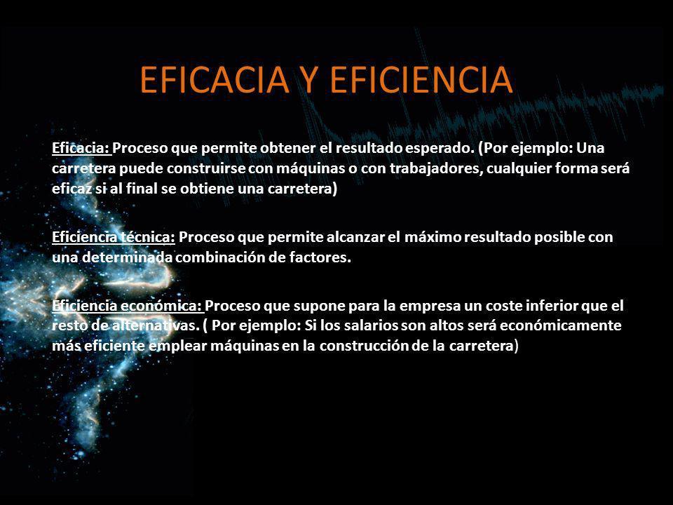 EFICACIA Y EFICIENCIA Eficacia: Proceso que permite obtener el resultado esperado. (Por ejemplo: Una carretera puede construirse con máquinas o con tr