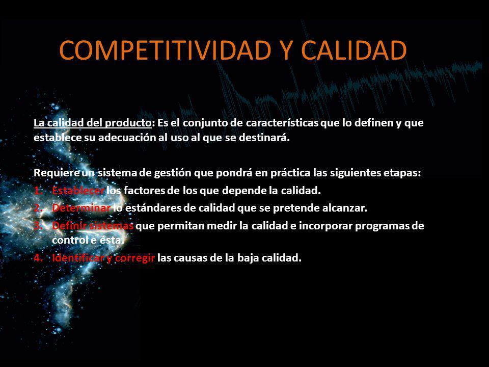 COMPETITIVIDAD Y CALIDAD La calidad del producto: Es el conjunto de características que lo definen y que establece su adecuación al uso al que se dest