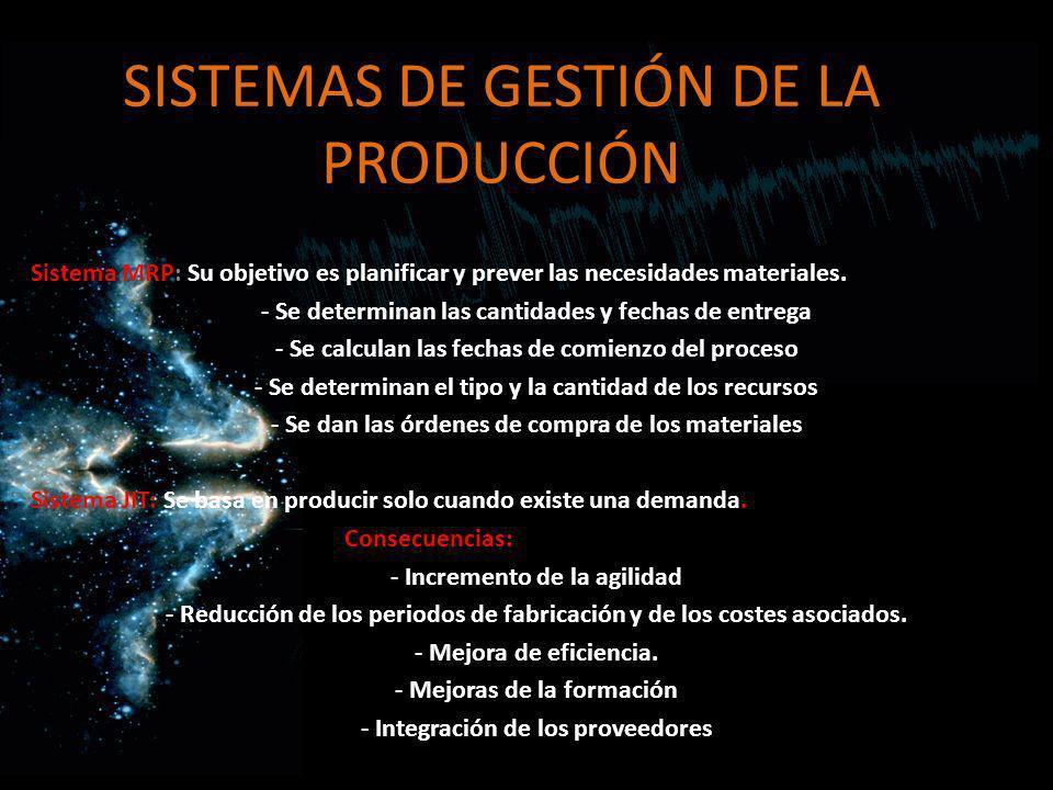 SISTEMAS DE GESTIÓN DE LA PRODUCCIÓN Sistema MRP: Su objetivo es planificar y prever las necesidades materiales. - Se determinan las cantidades y fech