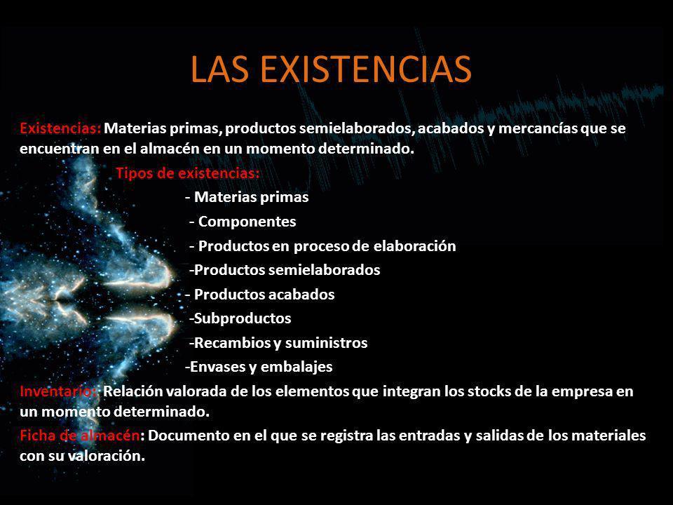 LAS EXISTENCIAS Existencias: Materias primas, productos semielaborados, acabados y mercancías que se encuentran en el almacén en un momento determinad