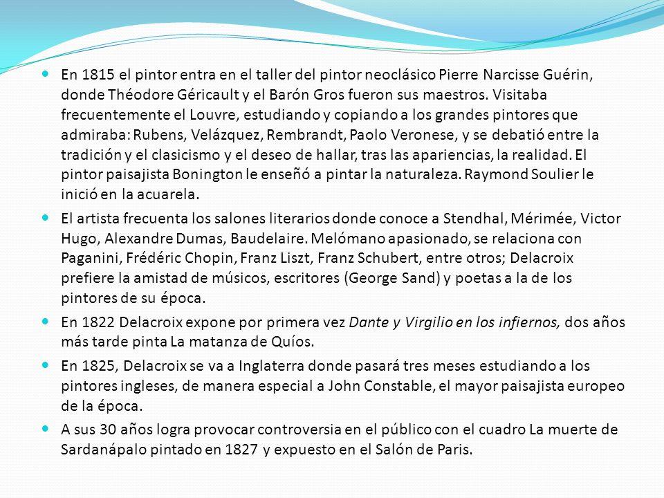 En 1815 el pintor entra en el taller del pintor neoclásico Pierre Narcisse Guérin, donde Théodore Géricault y el Barón Gros fueron sus maestros. Visit