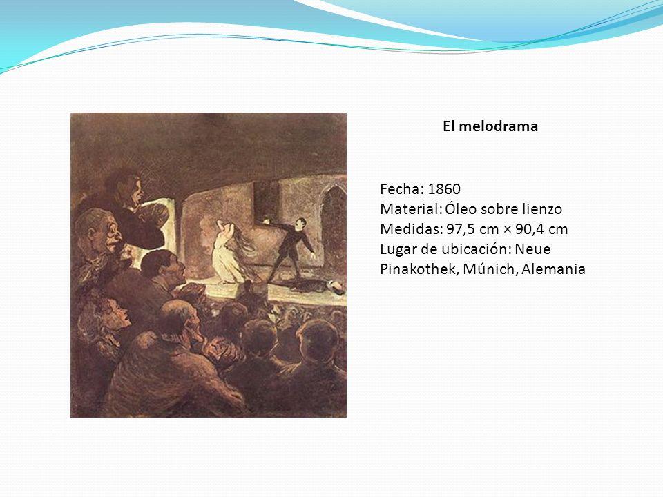 El melodrama Fecha: 1860 Material: Óleo sobre lienzo Medidas: 97,5 cm × 90,4 cm Lugar de ubicación: Neue Pinakothek, Múnich, Alemania