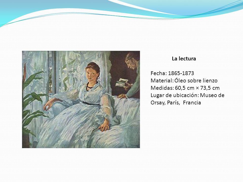 La lectura Fecha: 1865-1873 Material: Óleo sobre lienzo Medidas: 60,5 cm × 73,5 cm Lugar de ubicación: Museo de Orsay, París, Francia