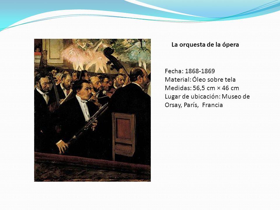 La orquesta de la ópera Fecha: 1868-1869 Material: Óleo sobre tela Medidas: 56,5 cm × 46 cm Lugar de ubicación: Museo de Orsay, París, Francia