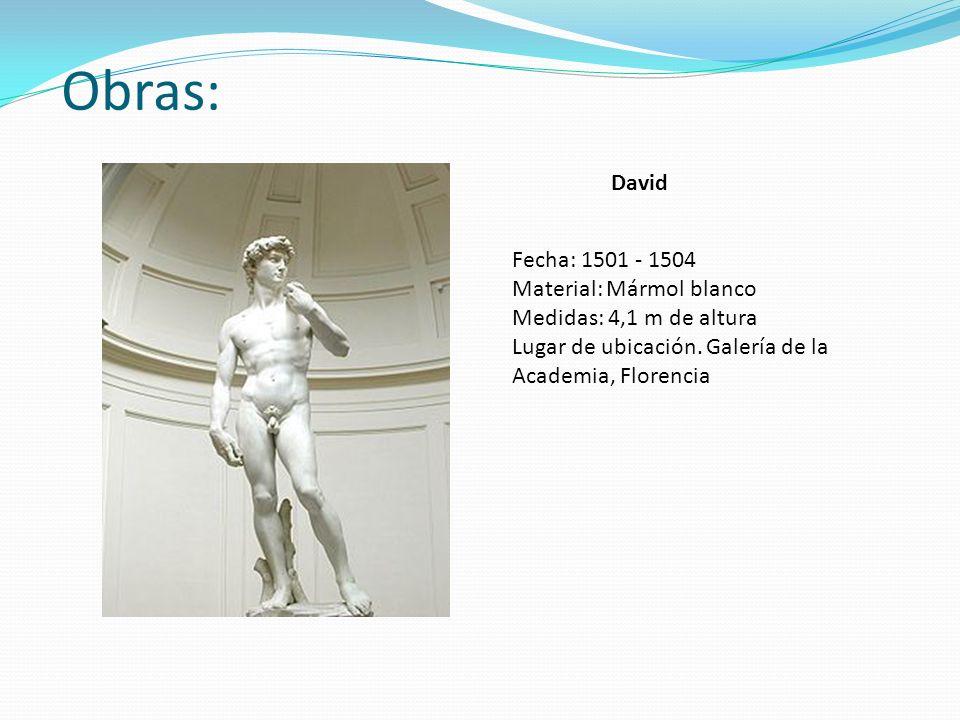 Obras: Fecha: 1501 - 1504 Material: Mármol blanco Medidas: 4,1 m de altura Lugar de ubicación. Galería de la Academia, Florencia David