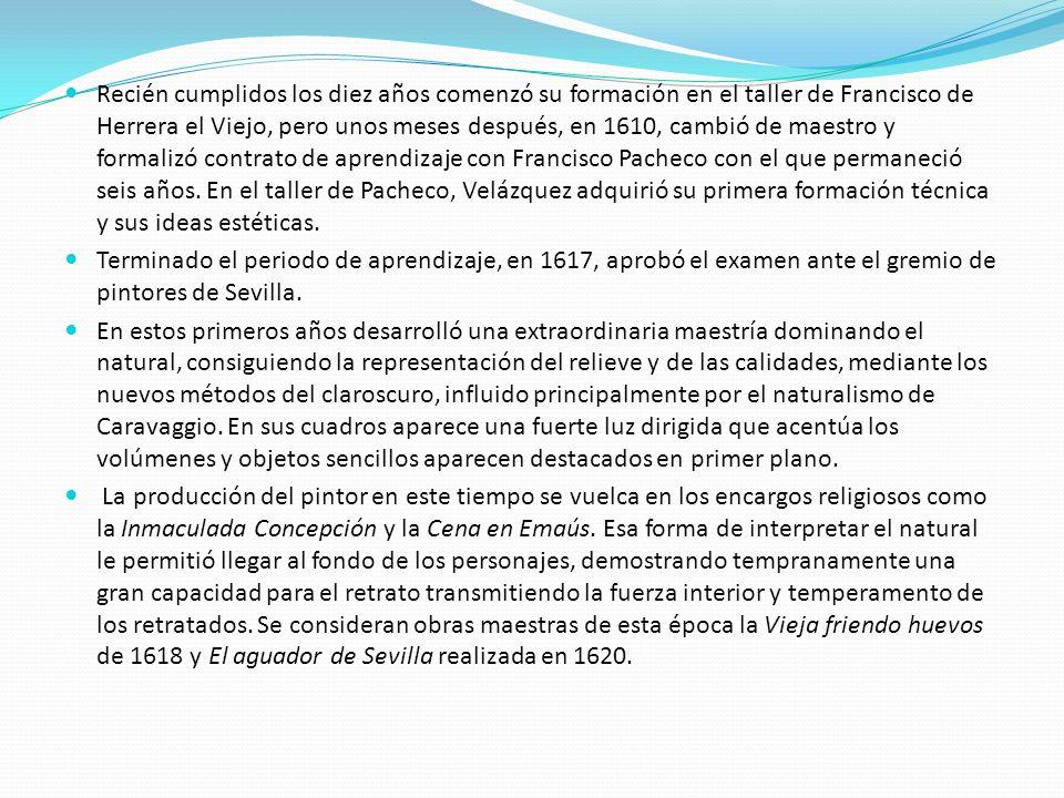 Recién cumplidos los diez años comenzó su formación en el taller de Francisco de Herrera el Viejo, pero unos meses después, en 1610, cambió de maestro