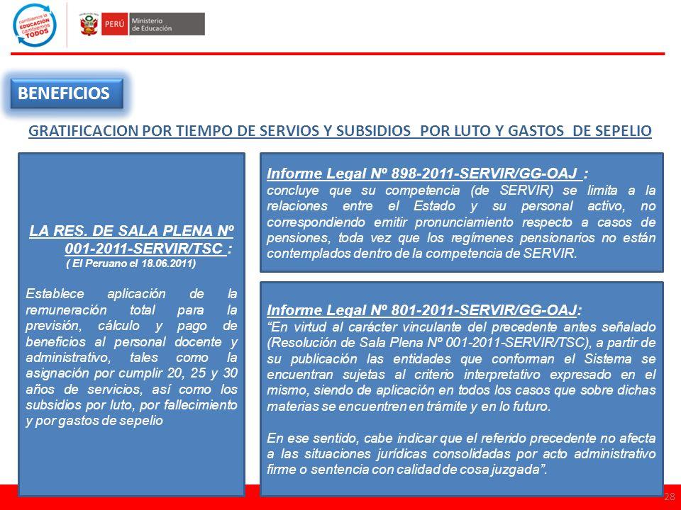 28 BENEFICIOS GRATIFICACION POR TIEMPO DE SERVIOS Y SUBSIDIOS POR LUTO Y GASTOS DE SEPELIO LA RES. DE SALA PLENA Nº 001-2011-SERVIR/TSC : ( El Peruano