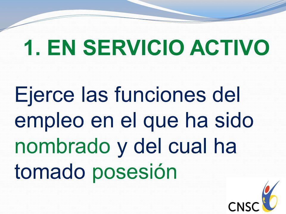 1. EN SERVICIO ACTIVO Ejerce las funciones del empleo en el que ha sido nombrado y del cual ha tomado posesión