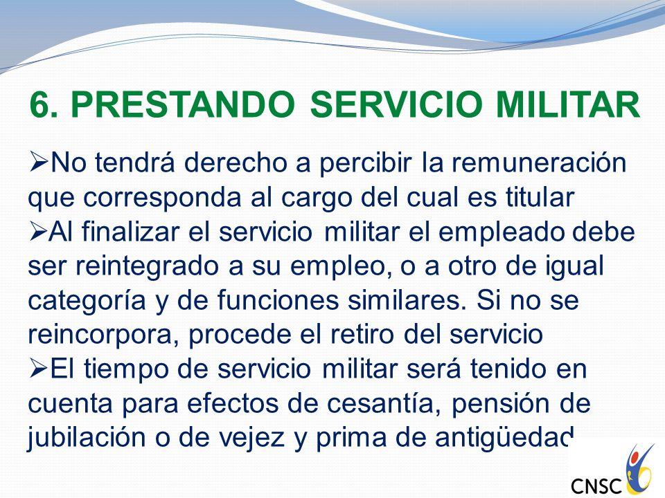 6. PRESTANDO SERVICIO MILITAR No tendrá derecho a percibir la remuneración que corresponda al cargo del cual es titular Al finalizar el servicio milit