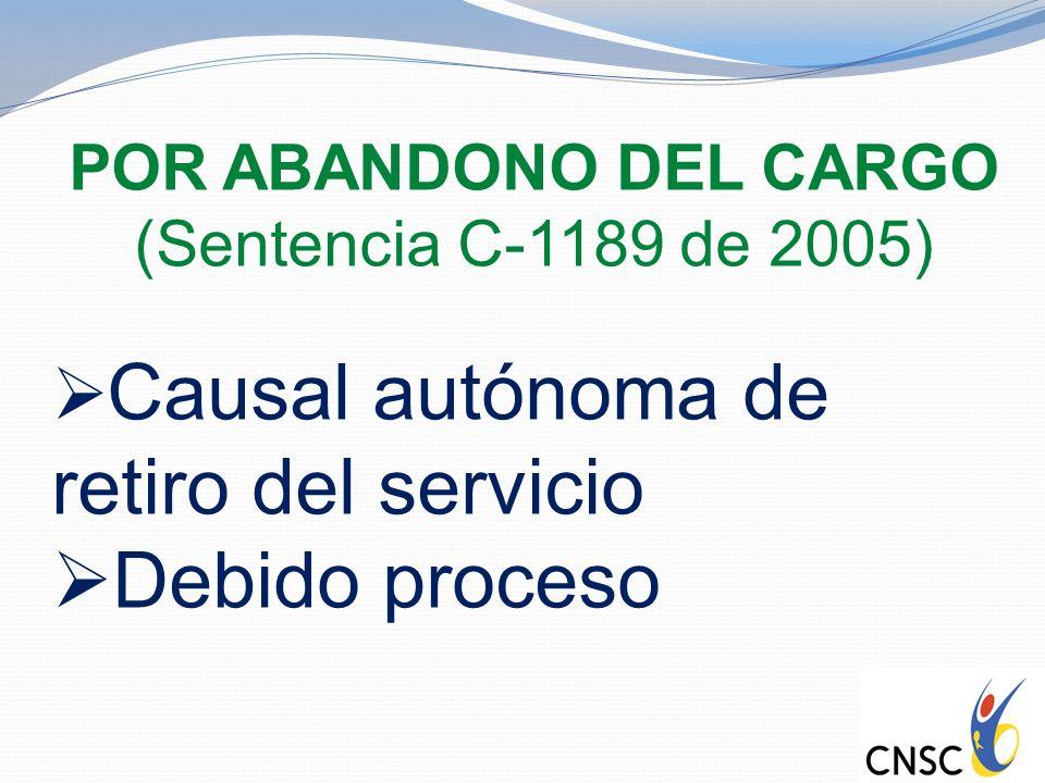 POR ABANDONO DEL CARGO (Sentencia C-1189 de 2005) Causal autónoma de retiro del servicio Debido proceso