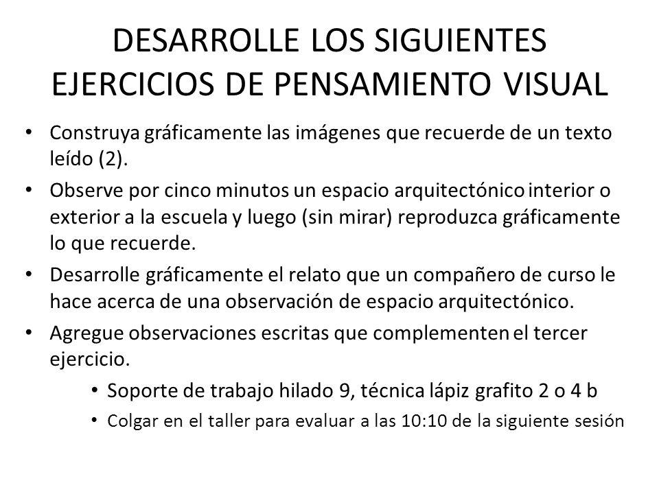 DESARROLLE LOS SIGUIENTES EJERCICIOS DE PENSAMIENTO VISUAL Construya gráficamente las imágenes que recuerde de un texto leído (2). Observe por cinco m