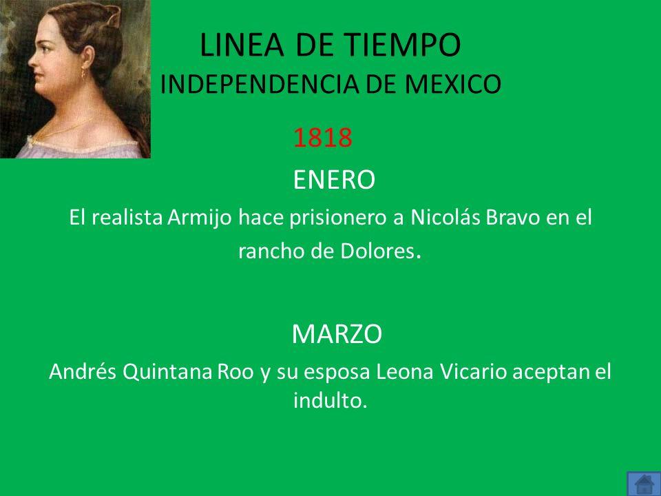LINEA DE TIEMPO INDEPENDENCIA DE MEXICO 1817 ABRIL Xavier Mina desembarca en Soto la Marina y lanza un manifiesto contra la tiranía de Fernando Vll MA