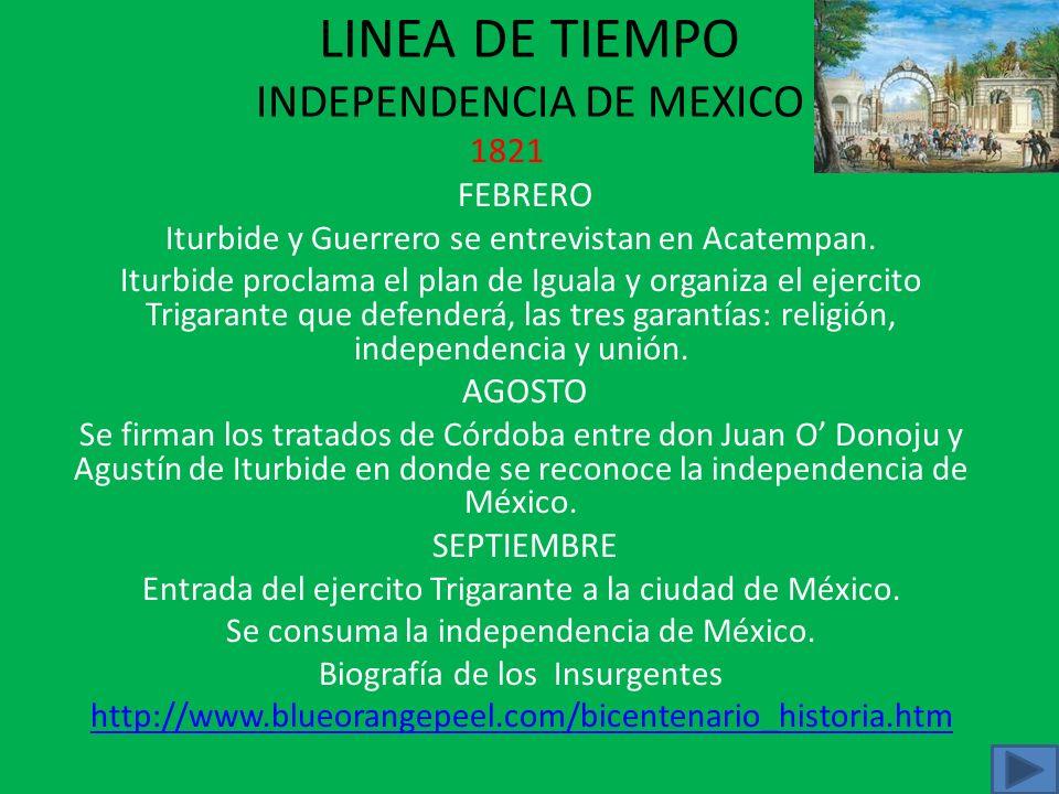 LINEA DE TIEMPO INDEPENDENCIA DE MEXICO 1820 NOVIEMBRE Agustín de Iturbide sale de la ciudad de México para combatir a Guerrero. DICIEMBRE Pedro Ascen