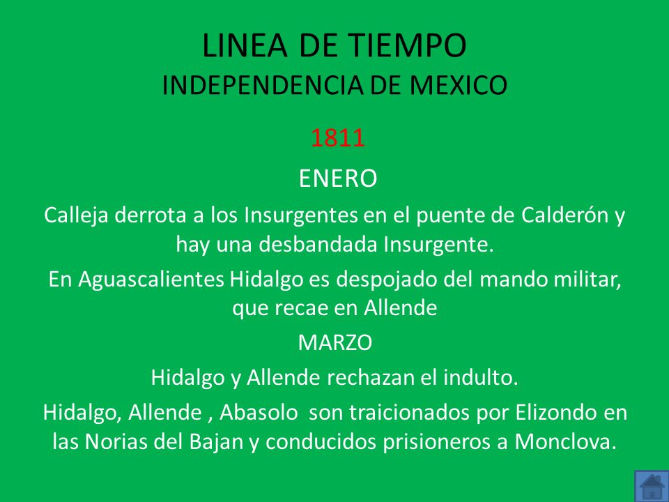 LINEA DE TIEMPO INDEPENDENCIA DE MEXICO 1811 ENERO Calleja derrota a los Insurgentes en el puente de Calderón y hay una desbandada Insurgente.
