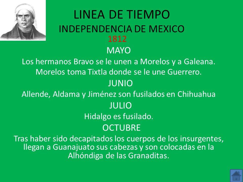 LINEA DE TIEMPO INDEPENDENCIA DE MEXICO 1812 MAYO Los hermanos Bravo se le unen a Morelos y a Galeana.