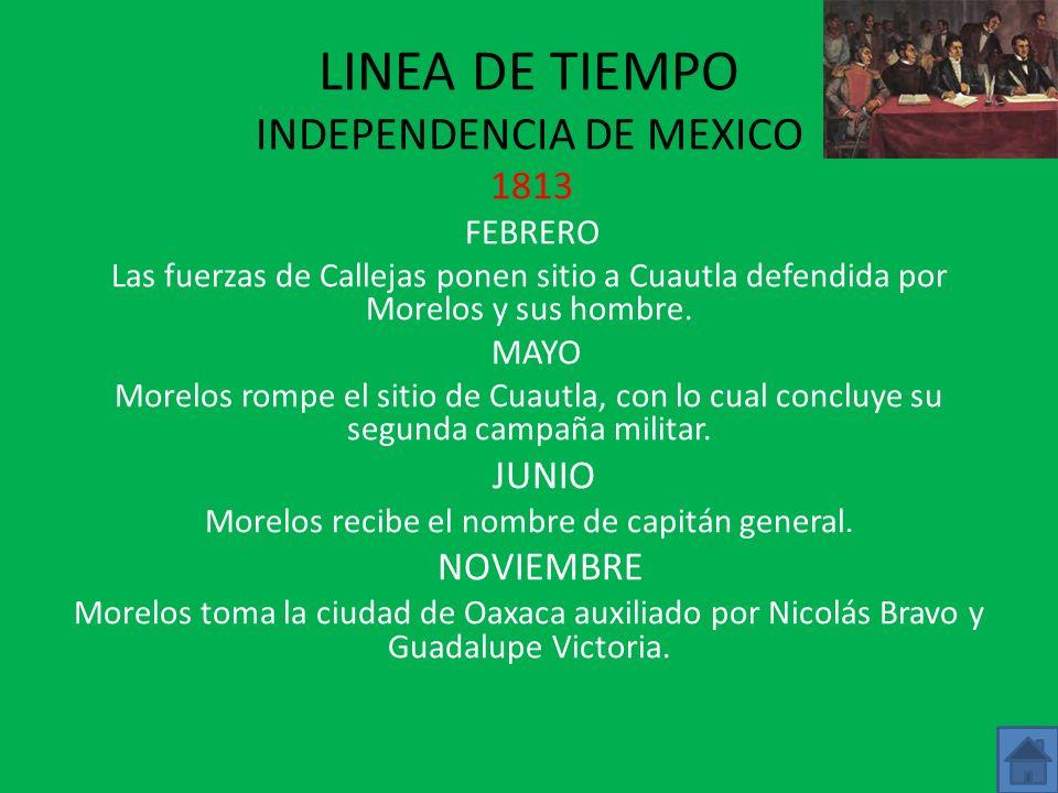 LINEA DE TIEMPO INDEPENDENCIA DE MEXICO 1812 MAYO Los hermanos Bravo se le unen a Morelos y a Galeana. Morelos toma Tixtla donde se le une Guerrero. J